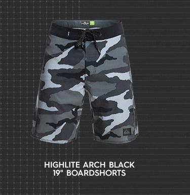 """Highlite Arch Black 19"""" Boardshorts"""